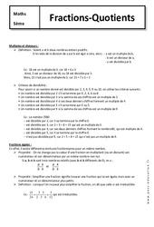 Fractions - Quotients - Cours : 1ere Secondaire