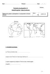 Globe - Planisphère - Océans - Continents - Examen Evaluation : 3eme Primaire