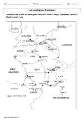 Montagnes françaises - Exercices corrigés - Géographie : 3eme Primaire