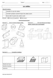 Solides - Examen Evaluation : 3eme Primaire