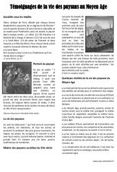 Vie des paysans au Moyen Age - Lecture documentaire - Exercices corrigés : 3eme Primaire