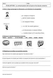 Romanisation de la Gaule - Examen Evaluation - Gaule romaine : 3eme Primaire