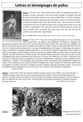 Lettres et témoignages de poilus - XXème siècle - 1ère guerre mondiale 1914 - 1918 : 5eme Primaire