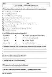 Révolution française - Examen Evaluation : 4eme, 5eme Primaire