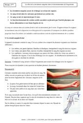 Rôle de la circulation sanguine dans le fonctionnement de l'organisme - Cours - SVT : 1ere Secondaire