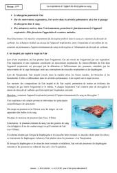 Respiration - Apport du dioxygène au sang - Cours - SVT : 1ere Secondaire