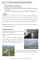 Découvrir un paysage, introduction à la géologie - Cours - SVT : 1ere Secondaire
