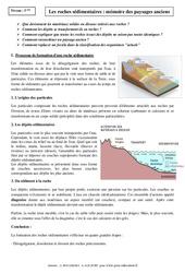 Roches sédimentaires - Mémoire des paysages anciens - Cours - Géologie - SVT : 1ere Secondaire