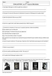 Seconde Guerre mondiale - Examen Evaluation : 5eme Primaire