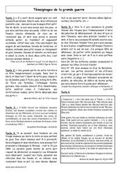 Seconde Guerre mondiale - Témoignages - Histoire - XXème siècle : 5eme Primaire