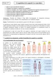 Acquisition de la capacité à se reproduire - Cours - Transmission de la vie chez l'Homme - SVT : 2eme Secondaire