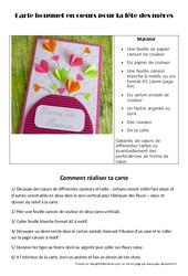 Fête des mères - Carte bouquet en cœurs - Arts plastiques : Primaire - Cycle Fondamental