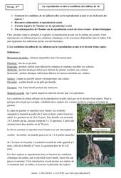 Reproduction sexuée - Conditions des milieux de vie - Cours - SVT : 2eme Secondaire