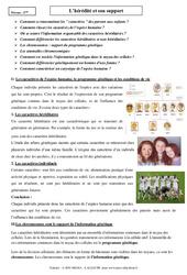 Hérédité et son support - Cours - SVT : 3eme Secondaire