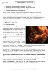 Evolution biologique et environnement - Cours - SVT : 3eme Secondaire