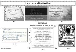 La carte d'invitation - Production d'écrit - Lecture - Ecriture : 3eme, 4eme, 5eme Primaire