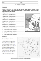 France - Exercices corrigés - Géographie : 6eme Primaire