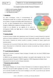 Enjeux du développement durable - Etude de cas - Géographie : 1ere Secondaire
