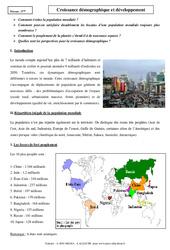 Croissance démographique et développement - Cours - Géographie : 1ere Secondaire