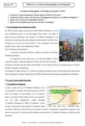 Croissance démographique et développement - Etude de cas - Géographie : 1ere Secondaire