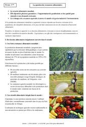 Ressources alimentaires - Cours - Géographie : 1ere Secondaire