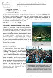 Ressources alimentaires - Etude de cas - Géographie : 1ere Secondaire