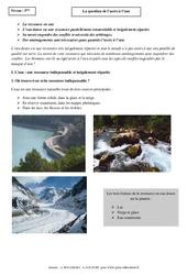 Question de l'accès à l'eau - Cours - Géographie : 1ere Secondaire
