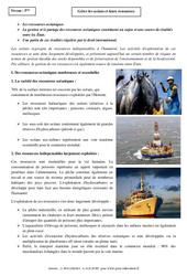 Gérer les océans et leurs ressources - Cours - Géographie : 1ere Secondaire