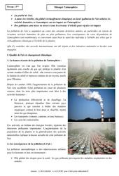 Ménager l'atmosphère - Cours - Géographie : 1ere Secondaire