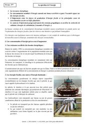 La question de l'énergie - Cours - Géographie : 1ere Secondaire