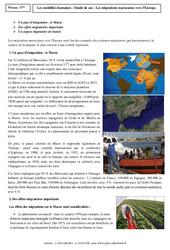 Mobilités humaines - Le Maroc - Etude de cas - Géographie : 2eme Secondaire
