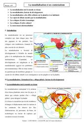 Mondialisation et ses contestations - Cours - Géographie : 2eme Secondaire