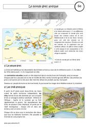 Le monde grec antique - Cours - Civilisation grecque : 6eme Primaire