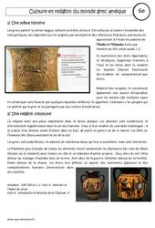 Culture et religion du monde grec antique - Cours - Civilisation grecque : 6eme Primaire
