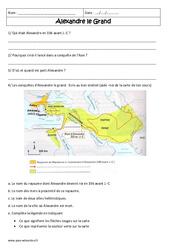 Alexandre le grand - Exercices corrigés - Civilisation grecque : 6eme Primaire