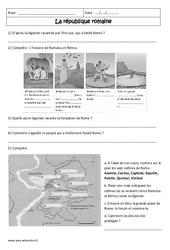 La république romaine - Exercices corrigés - Rome : 6eme Primaire