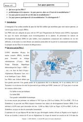 Pays pauvres - Cours - Géographie : 2eme Secondaire