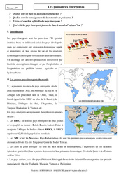 Puissances émergentes - Cours - Géographie : 2eme Secondaire