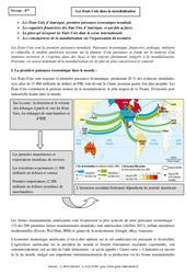 Etats Unis dans la mondialisation - Cours - Géographie : 2eme Secondaire
