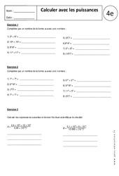 Calculer avec les puissances - Exercices corrigés : 2eme Secondaire