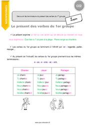 Découvrir les terminaisons du présent des verbes du 1er groupe - Cours, Leçon : 3eme Primaire