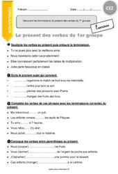 Découvrir les terminaisons du présent des verbes du 1er groupe - Exercices à imprimer : 3eme Primaire