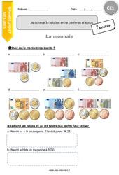 Je connais la relation entre centimes et euros - Exercices à imprimer : 2eme Primaire