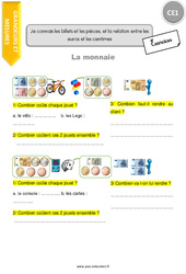 Je connais les billets et les pièces, et la relation entre les euros et les centimes - Exercices à imprimer : 2eme Primaire