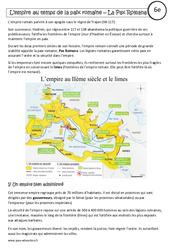Pax romana - Cours - L'empire au temps de la paix romaine - Rome : 6eme Primaire