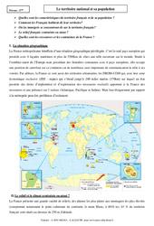 Le territoire national et sa population - Cours - La France : 3eme Secondaire