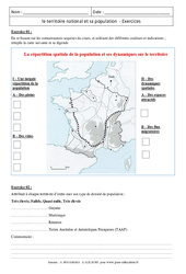 Le territoire national et sa population - Exercices corrigés - La France : 3eme Secondaire