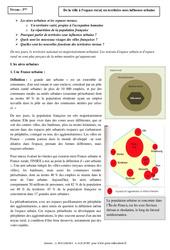 De la ville à l'espace rural, un territoire sous influence urbaine - Cours - La France : 3eme Secondaire