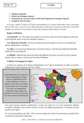 La région - Cours - La France : 3eme Secondaire