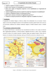Organisation du territoire français - Cours - Géographie : 3eme Secondaire